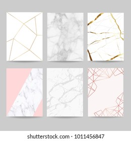 Marble with golden and rose gold Geometric shape texture background vector illustration set for modern design and wedding template
