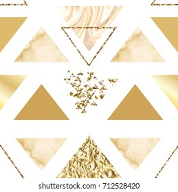 Marble golden seamless pattern background in trendy minimalist geometric style with stone, foil, glitter, metallic textures, triangles, template for poster, invitation, wallpaper