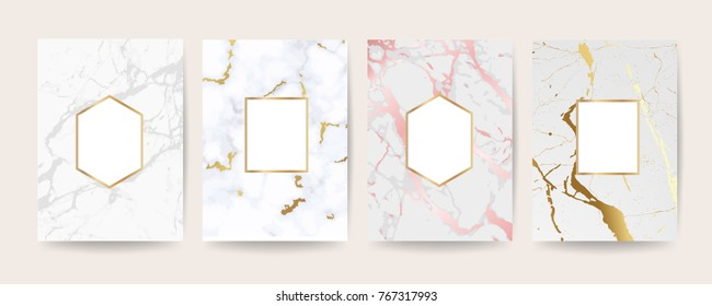 Marble with golden texture background cover design vector set