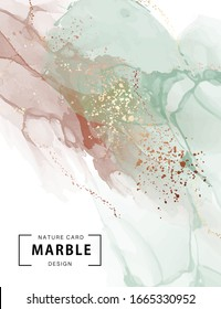 Marble Ink, watercolor paint pastel with gold foil abstract art. Colorful painting alcohol ink background. Highly-textured green brown oil paint and gold sparkles vector.