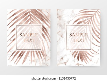 Marble invitation templates with rose gold palm leaves.
