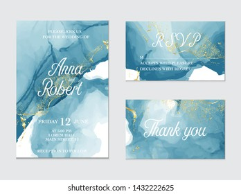 Marble Modern texture in blue color. Alcohol ink splash with isolated gold foil dots. Trendy pastel  advertising  poster design. Liquid flow art