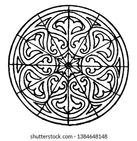 Marble Mosaic Circular Panel is found on the floor of the St. Vitale church, vintage line drawing or engraving illustration.