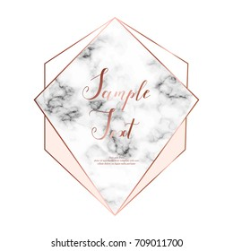 Marble polygonal frame with copper sparkle triangles, hexagon, geometric, diamond shapes.
