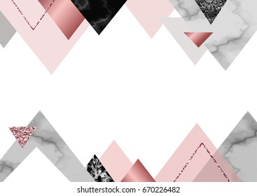 Marble rose background in trendy minimalist geometric style with stone, foil, glitter, metallic textures, triangles, template for poster, invitation, wallpaper