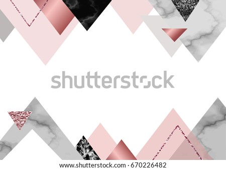 Marble Rose Background In Trendy Minimalist Geometric Style With Stone Foil Glitter Metallic