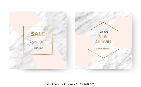 Marble sale banner design cards with gold frame and geometric shape.