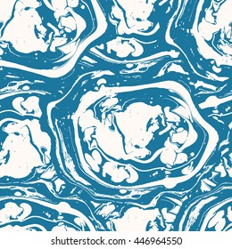 Marble seamless background. Abstract seamless pattern. Ebru style vector illustration