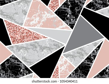 Marble seamless background with geometric shapes and pink glitter. Diamond pattern. Template for textile, apparel, card, invitation, wedding etc.