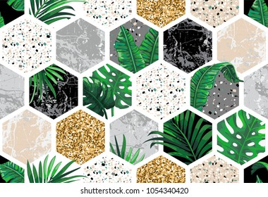 Marble seamless background with geometric shapes, tropical leaves and gold glitter. Diamond pattern. Template for textile, apparel, card, invitation, wedding etc.