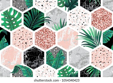 Marble seamless background with geometric shapes, tropical leaves and pink glitter. Diamond pattern. Template for textile, apparel, card, invitation, wedding etc.