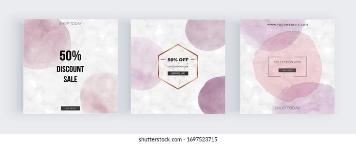 Marble social media banners with soft pastel pink round watercolor shapes. Modern geometric neutral template for flyer, card