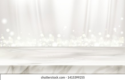 Marble stage or table with white silk curtains background and glowing sparkles. Elegant decorative backdrop with pearly chiffon flowing fabric drapery and soft light. Realistic 3d vector illustration