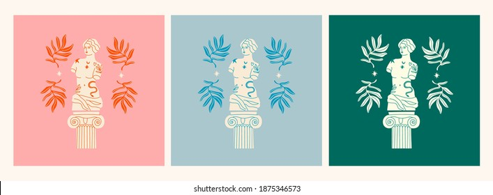 Marble Statues of Venus, column, branches. Greek ancient statue with modern Tattoos. T-shirt print design template. Set of three Hand drawn trendy Vector illustrations. Isolated on white
