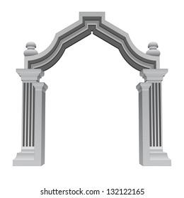 marble stone baroque entrance gate frame vector illustration