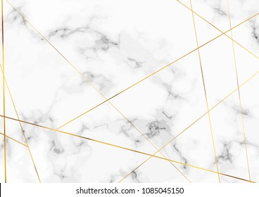 Marble stone plate with chic golden lines pattern. Luxurious metallic decorative pattern over grey and white halftone stone card. Print, Invitation design. Vector illustration