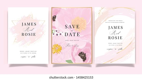 Marble Summer Flower Wedding Invitation set, floral invite thank you, rsvp modern card Design in Pink peony and white  floral with leaf greenery  branches decorative Vector elegant rustic template