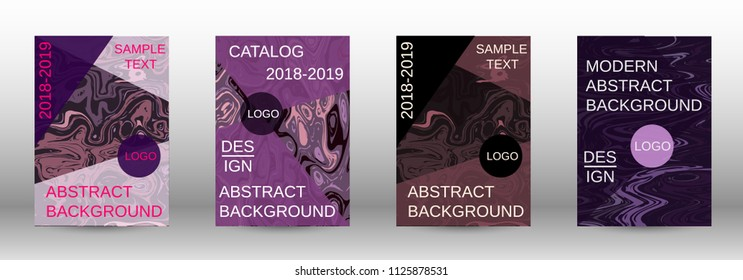 Marble texture covers set. Modern marble design with abstract lines. Creative fluid backgrounds from current forms to design a fashionable abstract cover, banner, poster, booklet. Vector illustration.