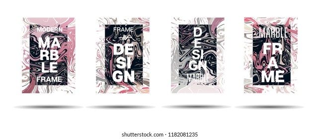 Marble Texture Dynamic Frame Vector Layout. Liquid Paint Trendy Suminagashi Ad, Music Poster, Motivational Card, Cover Background. Gradient Overlay Border, Business Vector Marble Texture Design