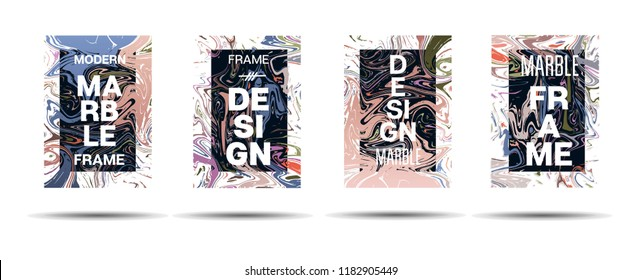 Marble Texture Dynamic Frame Vector Layout. Suminagashi Liquid Paint Ad, Music, Party Poster, Motivational Card, Cover Background. Gradient Overlay Border, Abstract Vector Marble Texture Design