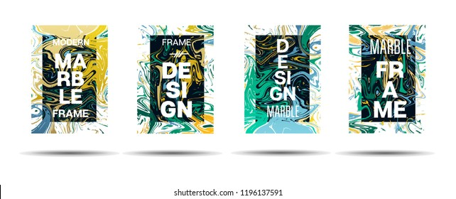 Marble Texture Dynamic Frame Vector Layout. Liquid Paint Suminagashi Futuristic Ad, Music Poster, Motivational Card, Cover Background. Gradient Overlay Border, Abstract Vector Marble Texture Design