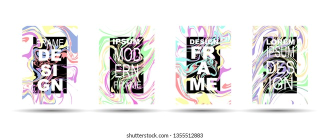 Marble Texture Dynamic Frame Vector Layout. Suminagashi Hologram Liquid Paint Ad, Music Poster, Motivational Card, Cover Background. Gradient Overlay Border, Fluid Liquid Shape Vector Marble Texture