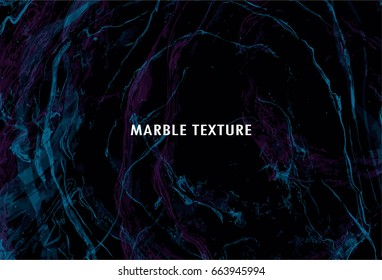 Marble texture. Handpainted waves. Vector abstract background in black, blue and pink color. Pattern can used for wallpaper or skin wall tile.