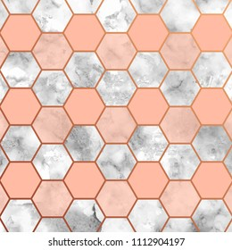 Marble texture with light pink hexagonal geometrical figures and transparencies