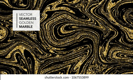 Marble texture. Luxury gold seamless background.  Abstract golden glitter marbling seamless pattern for fabric, tile, interior design or gift wrapping .Business or wedding cover card template. Vector