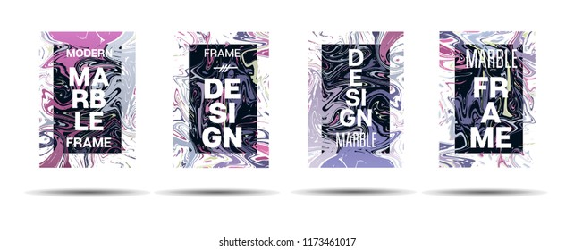 Marble Texture Motion Border Vector Layout. Liquid Paint Futuristic Suminagashi Ad, Music Poster, Motivational Card, Cover Background. Gradient Overlay Border, Vibrant Vector Marble Texture Design