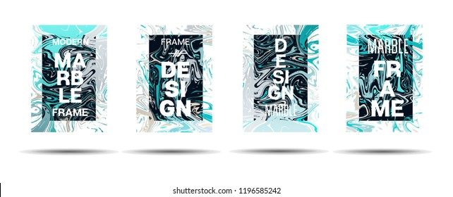 Marble Texture Motion Border Vector Layout. Suminagashi Gleaming Liquid Paint Ad, Music Poster, Motivational Card, Cover Background. Gradient Overlay Border, Dreamy Vector Marble Texture Design