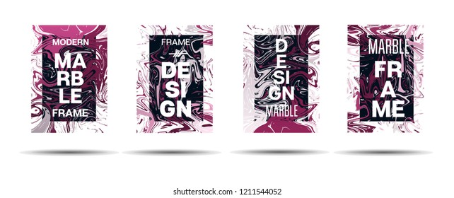 Marble Texture Motion Border Vector Layout. Suminagashi Liquid Paint Ad, Music, Party Poster, Motivational Card, Cover Background. Gradient Overlay Border, Corporate Identity Vector Marble Texture