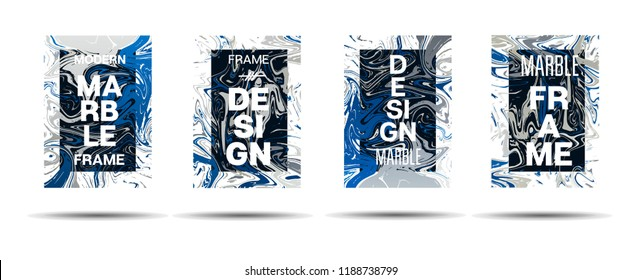 Marble Texture Motion Frame Vector Layout. Suminagashi Liquid Paint Futuristic Ad, Music Poster, Motivational Card, Cover Background. Gradient Overlay Border, Fluid Liquid Shape Vector Marble Texture