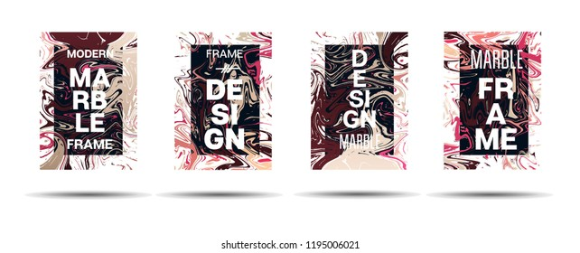 Marble Texture Motion Frame Vector Layout. Suminagashi Liquid Paint Ad, Music, Party Poster, Congratulations Card, Cover Background. Gradient Overlay Border, Abstract Marble Texture Design with Text