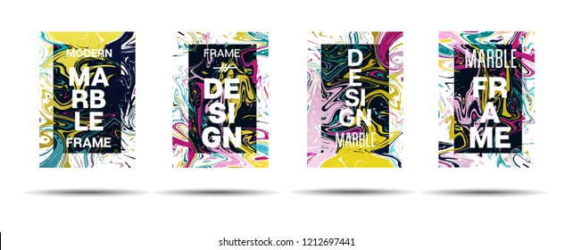 Marble Texture Motion Frame Vector Layout. Suminagashi Liquid Paint Futuristic Ad, Music Poster, Motivational Card, Cover Background. Gradient Overlay Border, Dreamy Vector Marble Texture Design