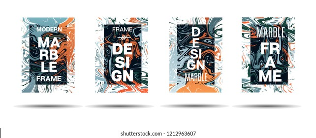 Marble Texture Motion Frame Vector Layout. Suminagashi Liquid Paint Minimal Ad, Music Poster, Motivational Card, Cover Background. Gradient Overlay Border, Business Vector Marble Texture Design
