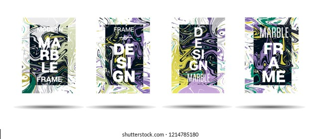 Marble Texture Motion Frame Vector Layout. Suminagashi Neon Holo Liquid Paint Ad, Music Poster, Motivational Card, Cover Background. Gradient Overlay Border, Corporate Identity Vector Marble Texture