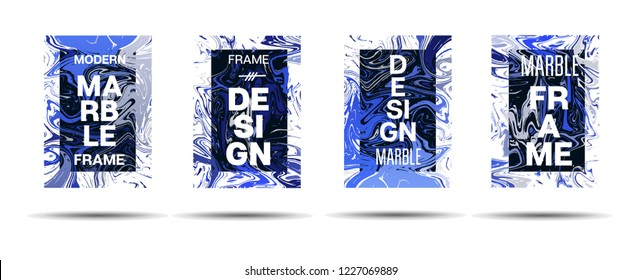 Marble Texture Motion Frame Vector Layout. Liquid Paint Trendy Suminagashi Ad, Music Poster, Motivational Card, Cover Background.