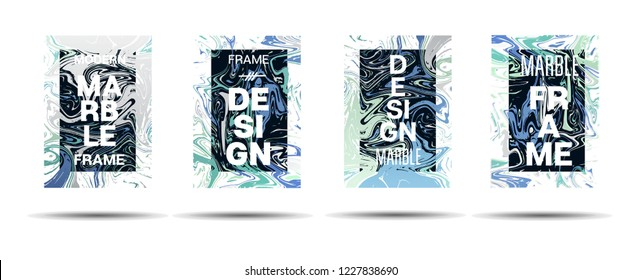 Marble Texture Motion Frame Vector Layout. Suminagashi Gleaming Liquid Paint Ad, Music Poster, Motivational Card, Cover Background. Abstract Marble Texture Layout with Text, Cool Gradient Border
