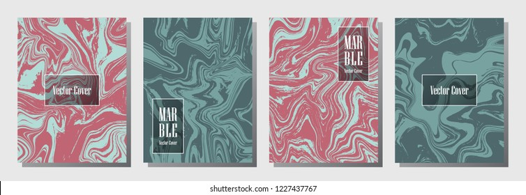 Marble texture vector invitation or journal templates set. Memphis marble suminagashi or ebru effect, watercolor, oil or paint splashes texture background. Stylish invitation card templates