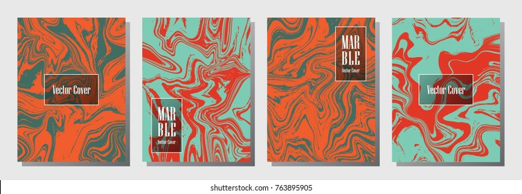 Marble texture vector invitation or journal templates collection. Cool marble suminagashi or ebru effect, watercolor, oil or paint splashes texture background. Red and blue invitation card templates.
