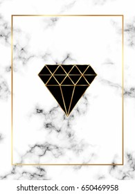 Marble trendy background with gold diamond, triangle, rhombus and geometric shapes.