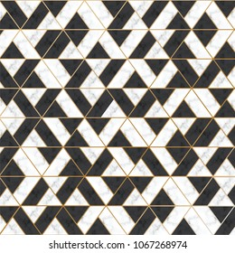 Marble Vector Texture. White and Black Marble with gold line. Luxury Pattern for Background and Design Element