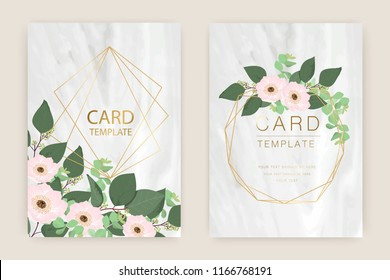 Marble Wedding Card Template With Romantic Greenery,Eucalyptus, Woodsy   ,Dusty Pink Wreath and luxury gold Vector illustration.