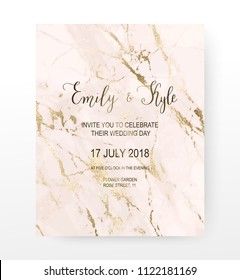 Marble wedding invitation card with gold glitter veins.