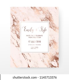 Marble wedding invitation card with rose gold veins texture.