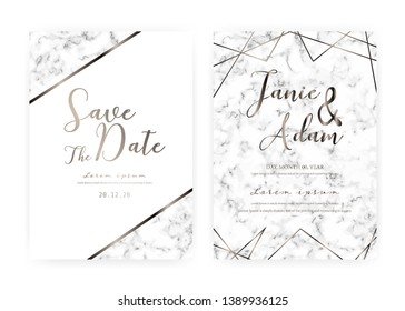 Marble wedding invitation card, Save the date wedding card, Modern card design with marble texture, Vector illustration.