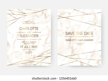 Marble wedding invitation cards design with gold lines.