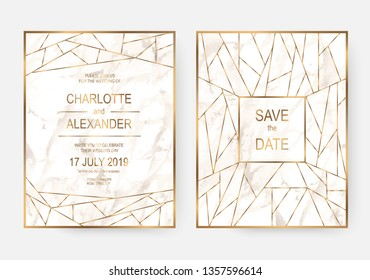 Marble wedding invitation cards design with gold lines in Art Deco style.