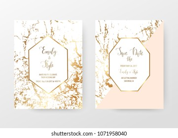Marble wedding invitation cards with  gold geometric shapes and golden texture.